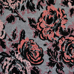 Abstract Rose Print Jersey French Terry Grey/Coral - Sold Out - Style Maker Fabrics