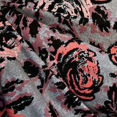 Abstract Rose Print Jersey French Terry Grey/Coral - Fabric - Style Maker Fabrics