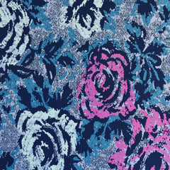 Abstract Rose Print Jersey French Terry Blue/Orchid - Fabric - Style Maker Fabrics