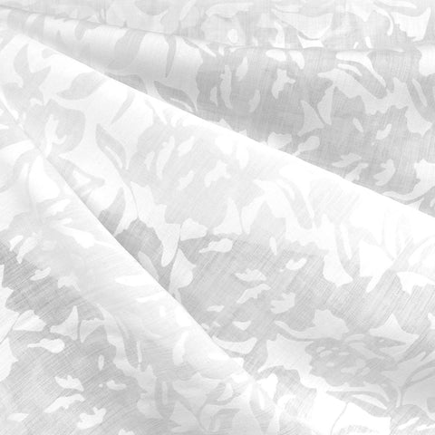 Abstract Floral Burn Out Voile Solid White