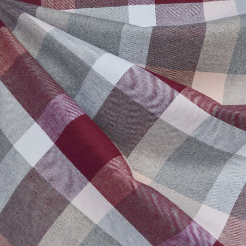 Giant Check Plaid Flannel Shirting Burgundy/Blush
