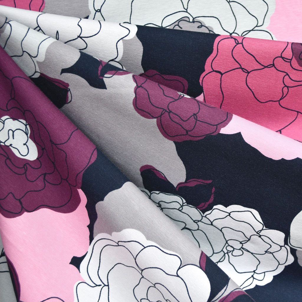 Layered Floral Outline Jersey Knit Navy/Plum - Fabric - Style Maker Fabrics