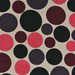 Japanese Mixed Polka Dot Canvas Black/Plum/Pink - Fabric - Style Maker Fabrics