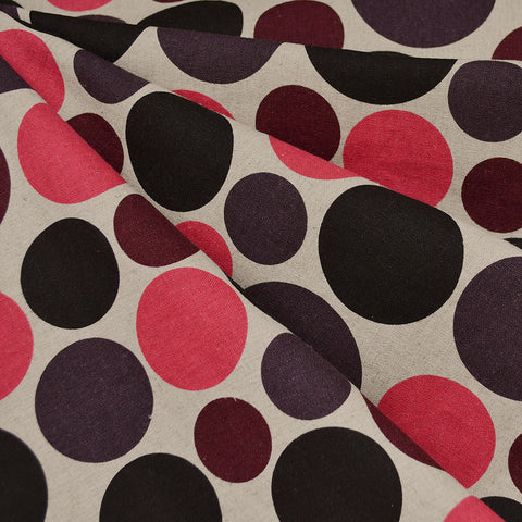 Japanese Mixed Polka Dot Canvas Black/Plum/Pink