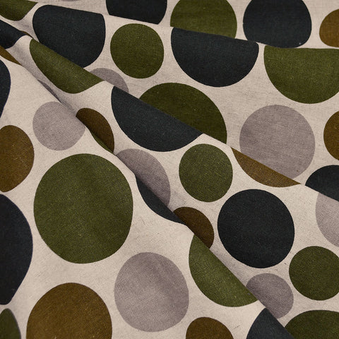 Japanese Mixed Polka Dot Canvas Black/Olive/Taupe