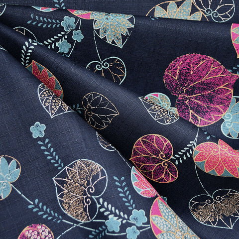Japanese Dobby Texture Cotton Leaf Scroll Navy