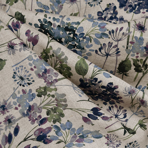 Japanese Watercolor Floral Linen Shirting Natural/Blue/Plum