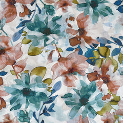 Japanese Watercolor Floral Cotton Rayon Lawn Teal/Rust - Fabric - Style Maker Fabrics