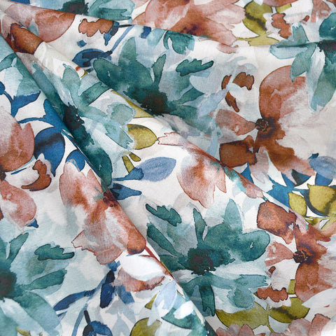 Japanese Watercolor Floral Cotton Rayon Lawn Teal/Rust