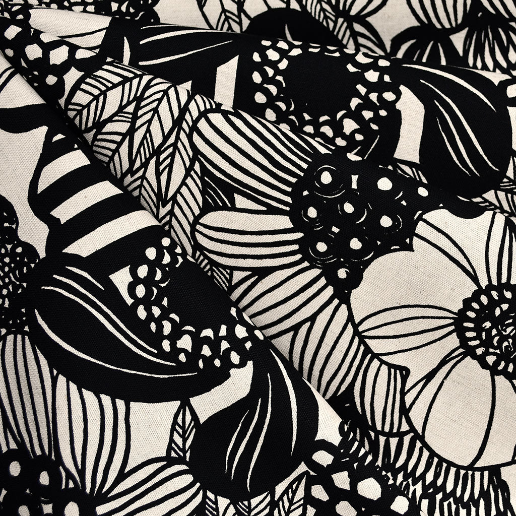 Japanese Large Sketch Floral Canvas Black/Natural - Fabric - Style Maker Fabrics