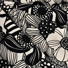 Japanese Large Sketch Floral Canvas Black/Natural SY - Sold Out - Style Maker Fabrics