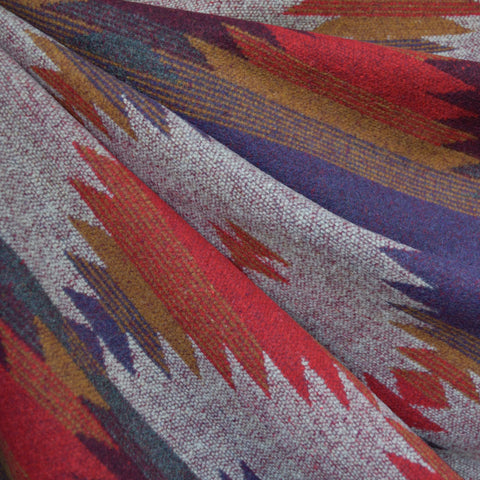 Reversible Southwest Inspired Wool Blend Coating Red