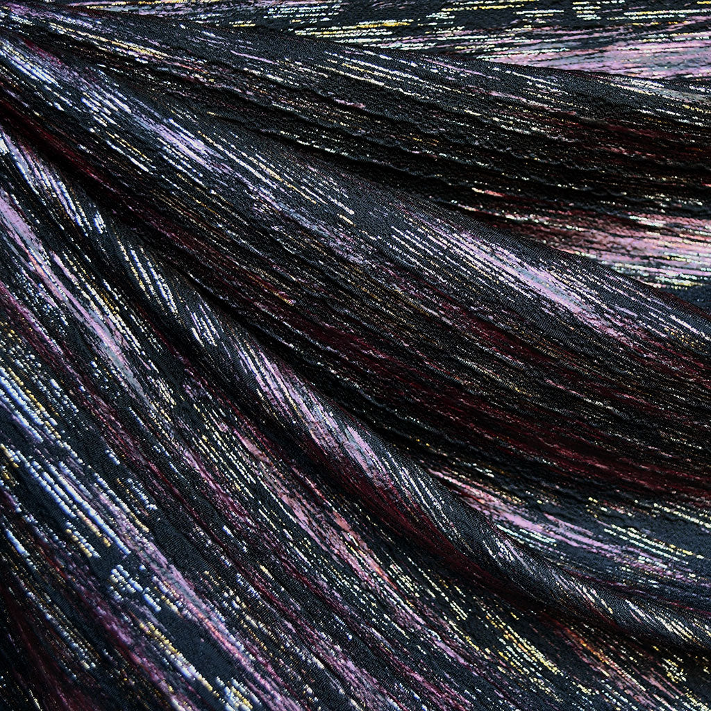 Distressed Stripe Metallic Double Knit Black/Rose/Gold - Fabric - Style Maker Fabrics