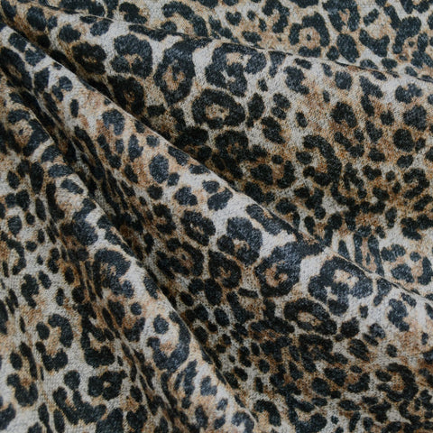 Leopard Animal Print Plush Double Knit Natural/Black