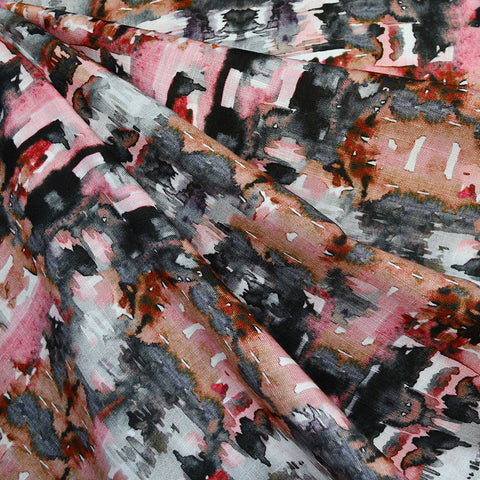 Abstract Watercolor Digital Print Slub Rayon Blush