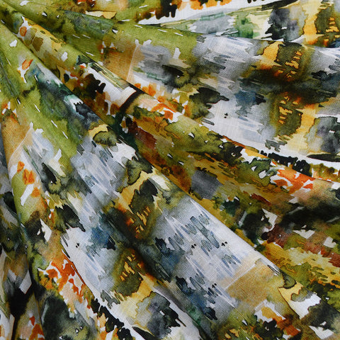 Abstract Watercolor Digital Print Slub Rayon Olive