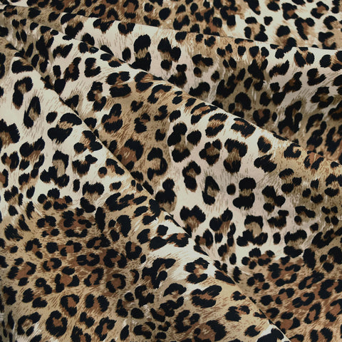 Small Leopard Animal Print Rayon Challis Brown/Taupe