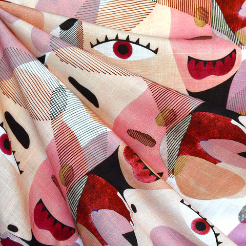 Layered Watercolor Faces Digital Print Slub Rayon Blush