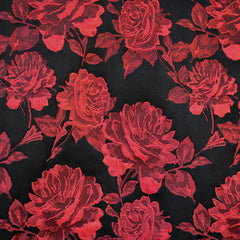 Tonal Rose Floral Brocade Black/Red - Fabric - Style Maker Fabrics