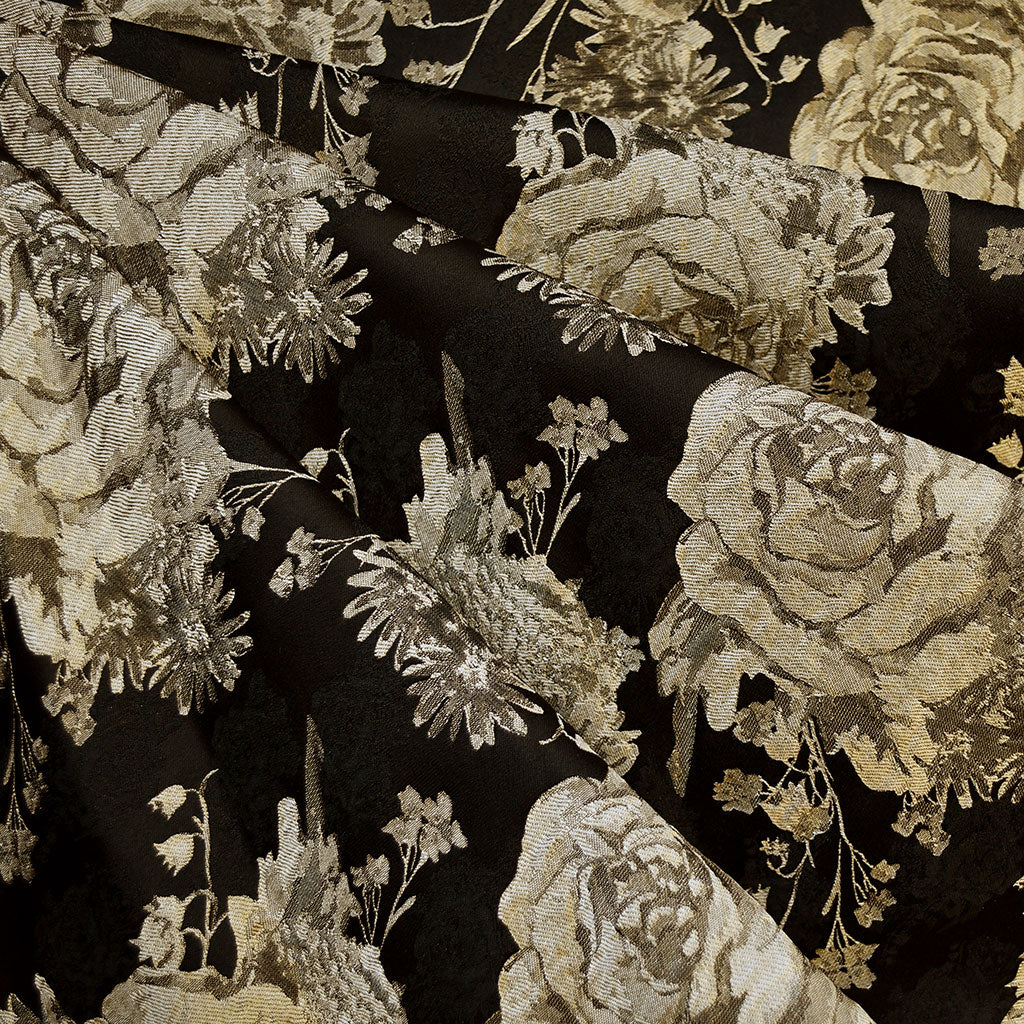 Tonal Floral Brocade Black/Gold - Fabric - Style Maker Fabrics