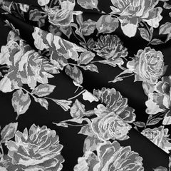 Tonal Rose Floral Brocade Black/Silver - Fabric - Style Maker Fabrics