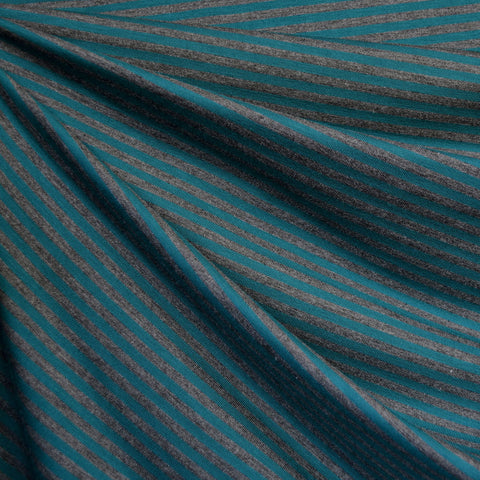 Mini Stripe Bamboo Jersey Knit Teal/Grey