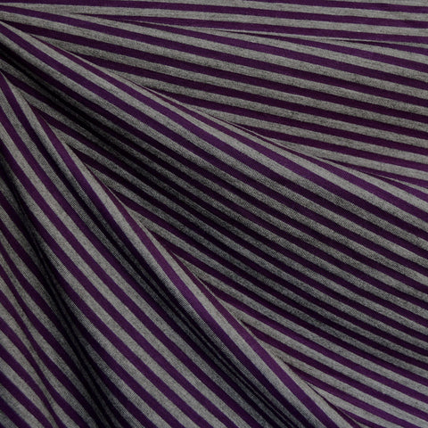 Mini Stripe Bamboo Jersey Knit Plum/Grey
