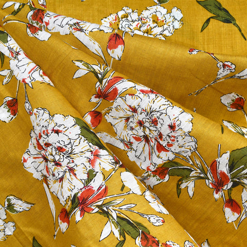 Fall Floral Outline Textured Voile Shirting Turmeric