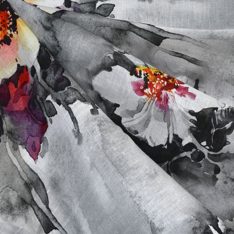 Watercolor Floral Digital Print Linen Shirting Grey/Plum