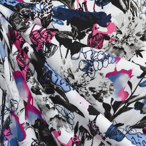 Designer Abstract Layered Floral Rayon Challis Blue/Fuchsia