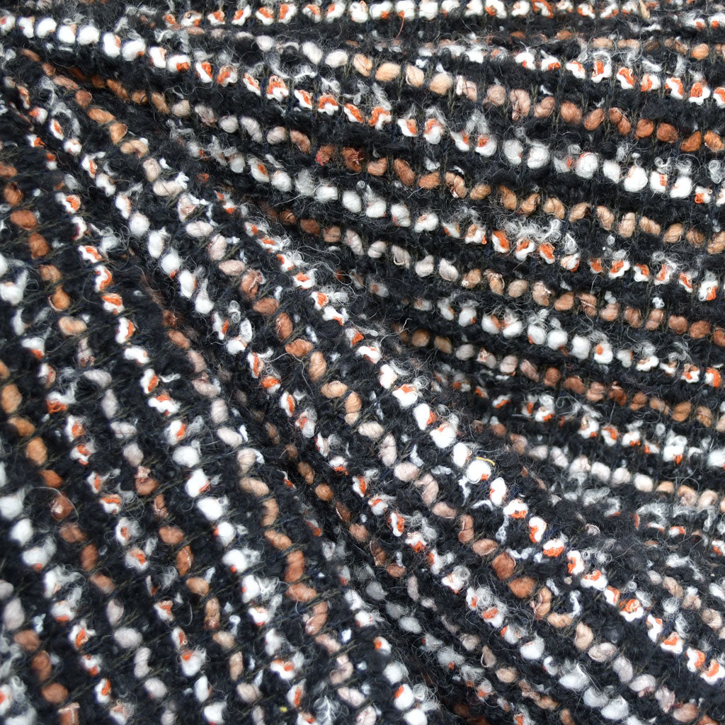 Designer Wool Boucle Knit Coating Black/Rust - Fabric - Style Maker Fabrics