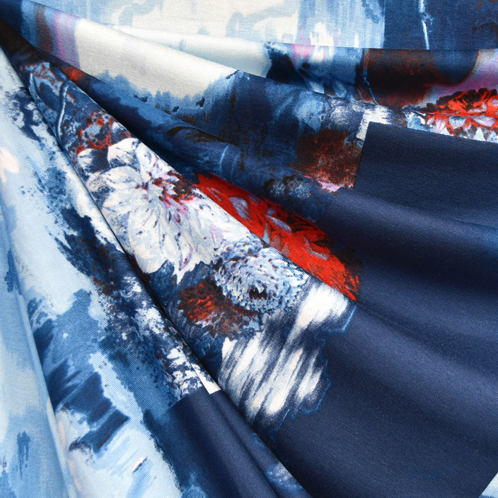 Designer Abstract Collage Digital Print Rayon Jersey Midnight SY - Sold Out - Style Maker Fabrics