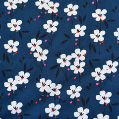Soiree Floral Stems Rayon Poplin Navy - Fabric - Style Maker Fabrics