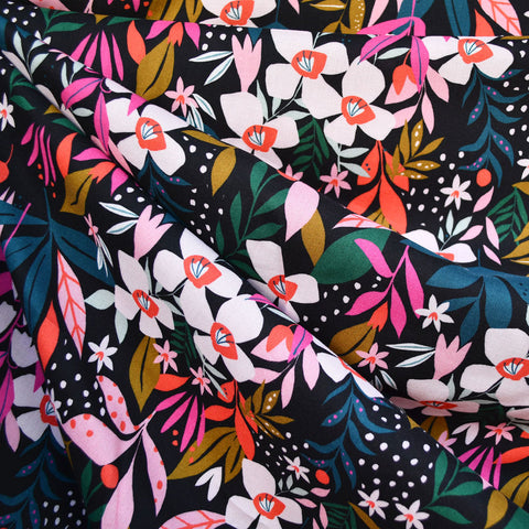 Soiree Jungle Floral Rayon Poplin Black