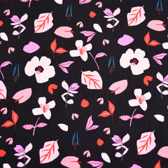 Soiree Scattered Floral Rayon Poplin Black - Fabric - Style Maker Fabrics