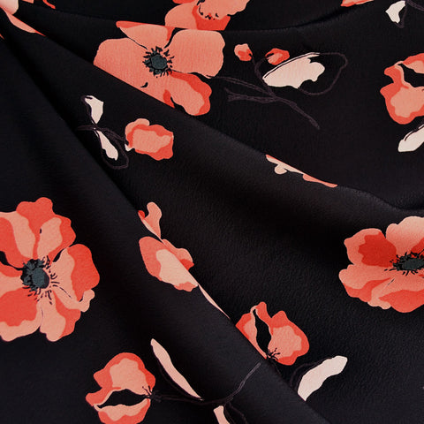 Poppy Field Rayon Crepe Black/Red