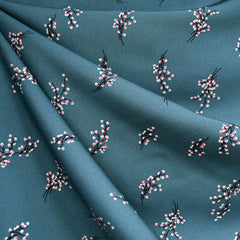 Winter Sprig Floral Challis Teal/Rose - Sold Out - Style Maker Fabrics
