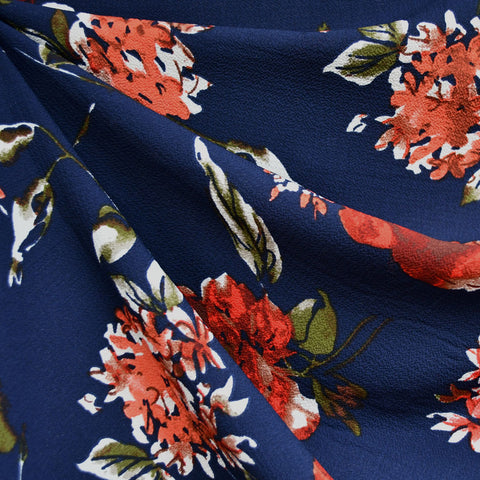 Autumn Floral Poly Crepe Navy/Red/Rust