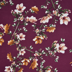 Autumn Vine Floral Poly Crepe Plum/Turmeric - Sold Out - Style Maker Fabrics