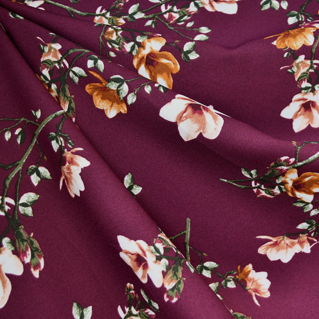 Autumn Vine Floral Poly Crepe Plum/Turmeric SY - Sold Out - Style Maker Fabrics