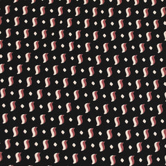 Retro Geometric Rayon Crepe Black/Wine - Fabric - Style Maker Fabrics