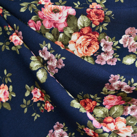 Vintage Rose Garden Rayon Crepe Navy SY