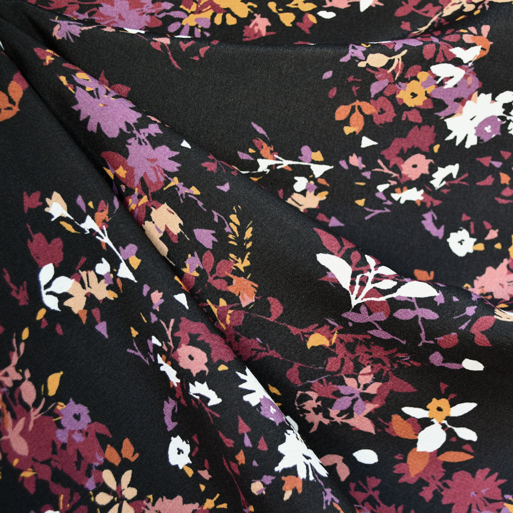 Abstract Fall Leaves Rayon Crepe Black/Plum SY - Sold Out - Style Maker Fabrics