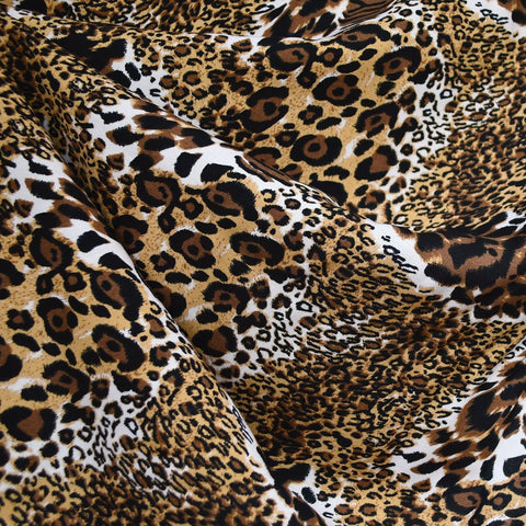Layered Animal Print Collage Rayon Challis Brown