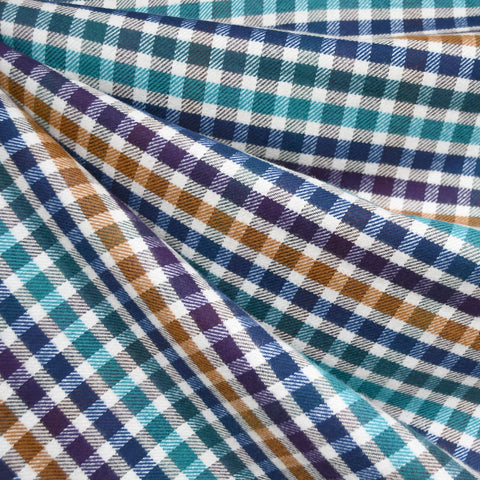 Multi Check Plaid Flannel Shirting Blue/Aqua