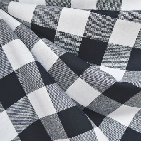 Giant Gingham Check Flannel Shirting Navy/White