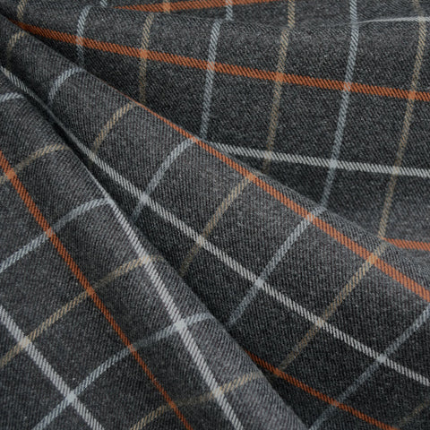 Windowpane Plaid Flannel Shirting Charcoal/Pumpkin