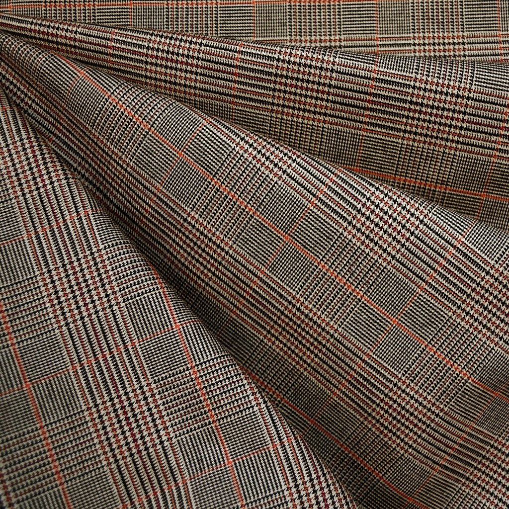 Stretch Glen Plaid Bottom Weight Camel/Rust - Sold Out - Style Maker Fabrics