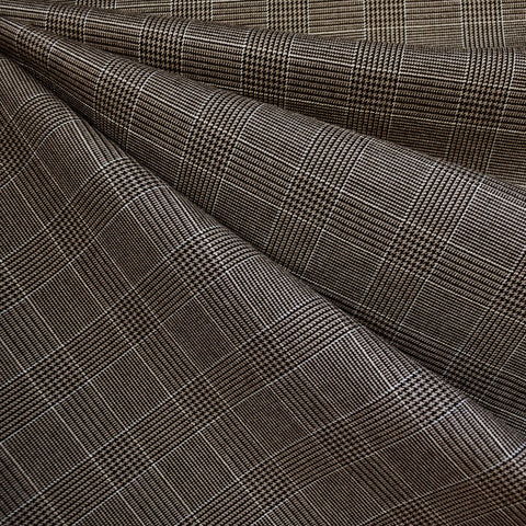Houndstooth Glen Plaid Suiting Taupe/Black