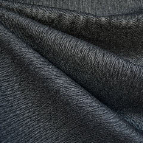 Wide Herringbone Woven Suiting Charcoal